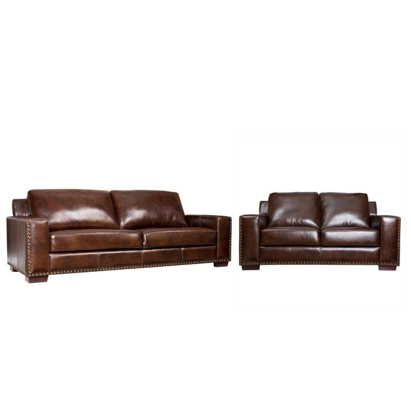 2 piece brown leather sofa friends pivot episode beverly transitional and loveseat set in qty