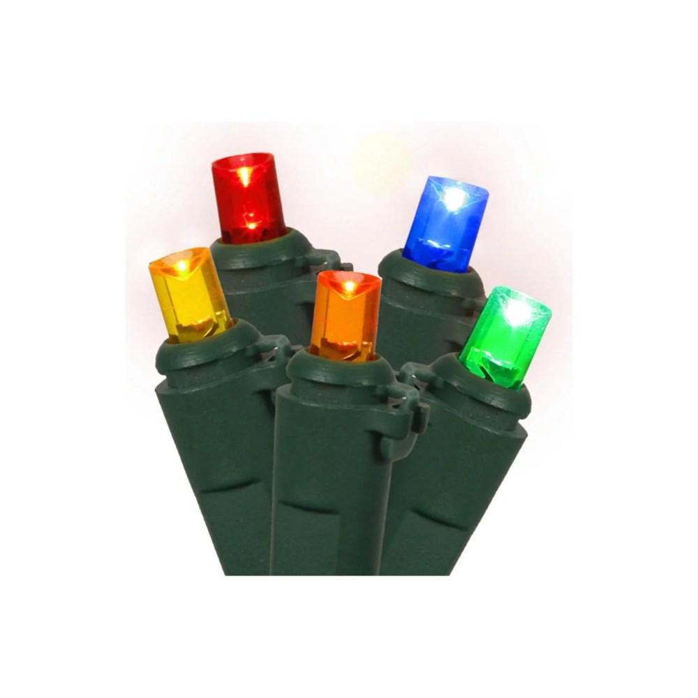 medium resolution of set of 100 multi color led wide angle christmas lights green wire walmart com