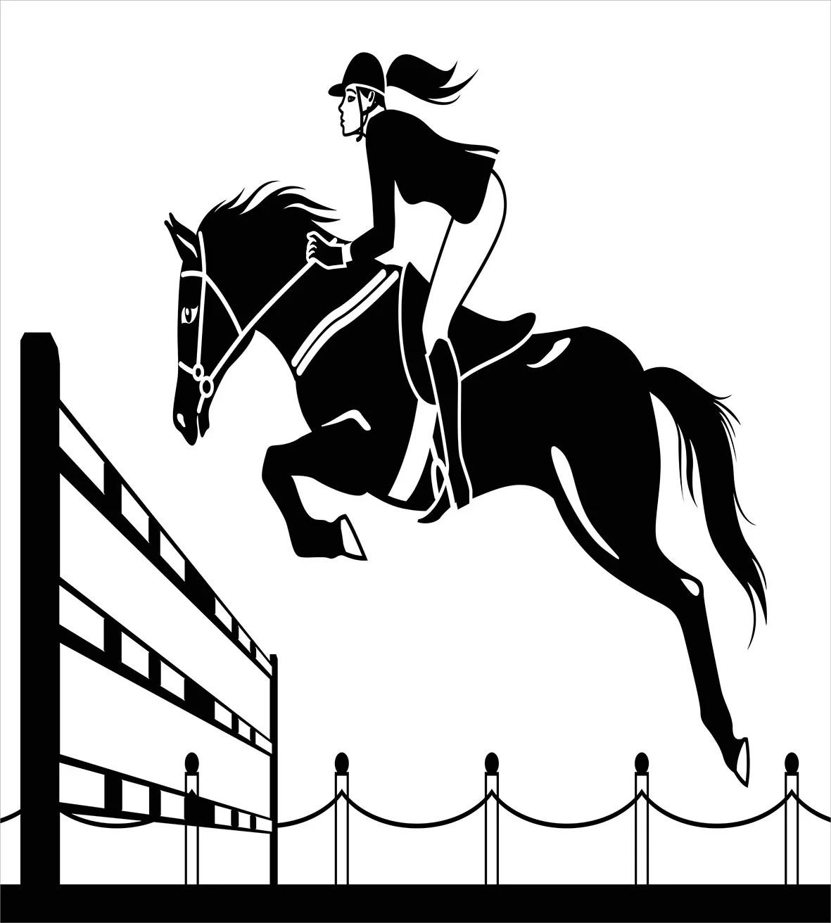 Cartoon Duvet Cover Set, Racing Horse with a Jockey Girl