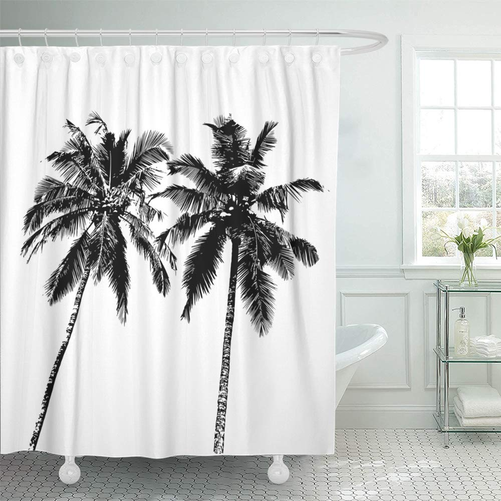 ksadk abstract realistic black silhouettes tropical palm trees on white beach botany coco shower curtain bath curtain 60x72 inch