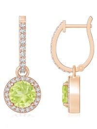 August Birthstone Earrings - Round Peridot Dangle Earrings ...