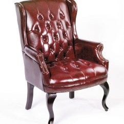 Traditional Leather Wingback Chair Hair Braiding Chairs Boss Office Products Burgundy Style Executive Guest Walmart Com