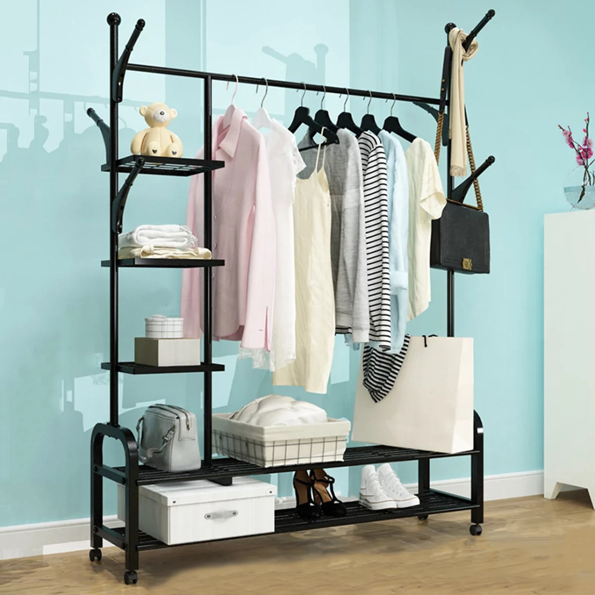 free standing closet organizer heavy duty closet storage with 6 shelves and hanging bar large clothes storage standing garment rack