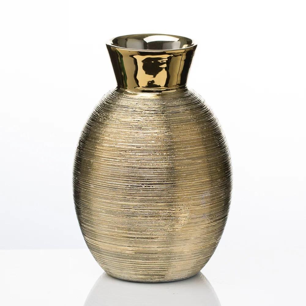 "Richland Vases Elegant Ceramic Gold 6.5"""