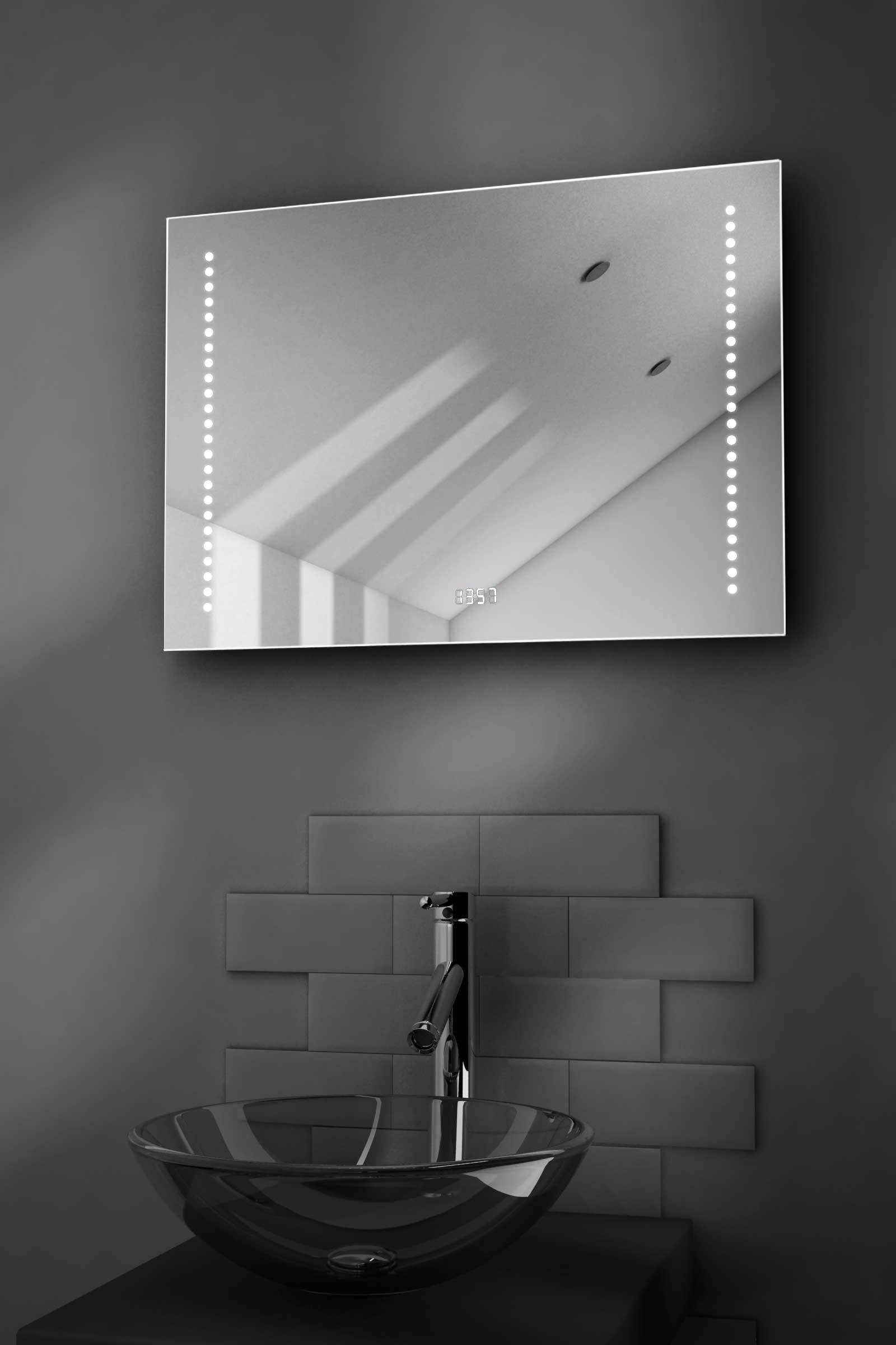 Beatrix UltraSlim Bathroom Mirror With Clock Demisting