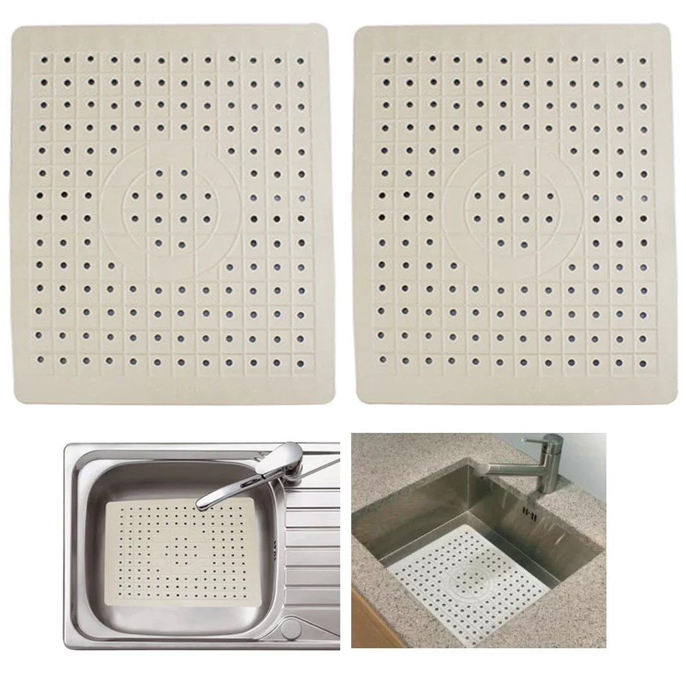 2 pack kitchen sink mat drain pad protector 10 x 12 non slip rubber durable