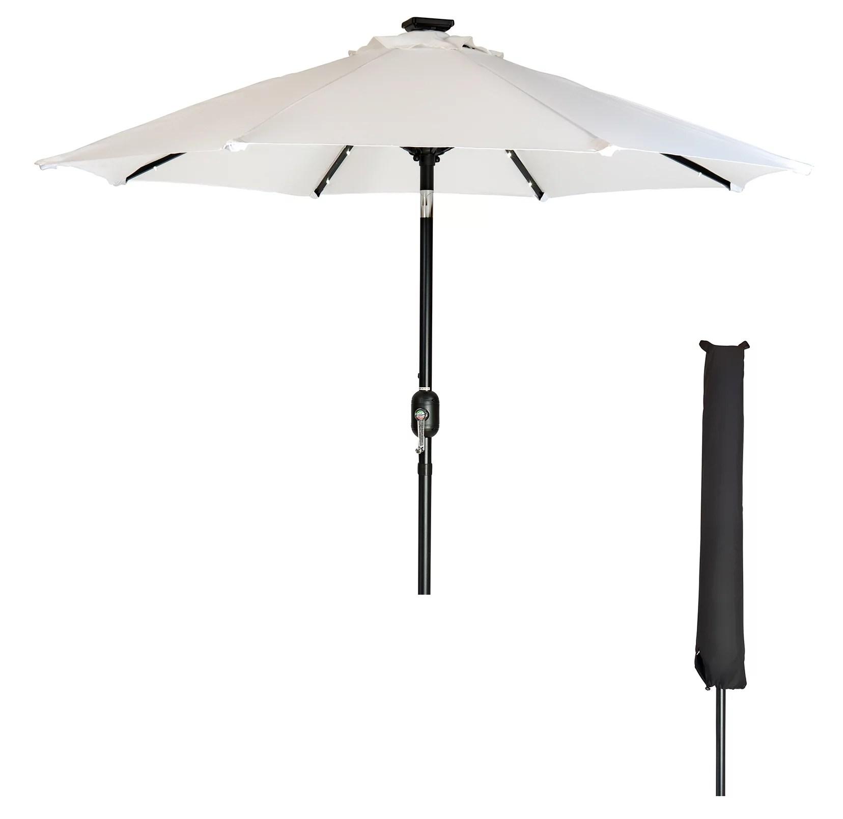 9 solar led patio umbrella with black umbrella cover by trademark innovations white