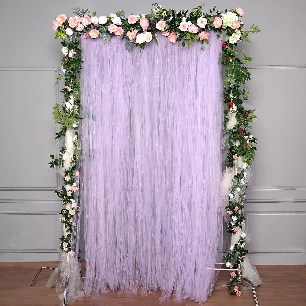 5 ft x 10 ft double sided tulle backdrop sheer curtain panels with satin rod pockets lavender