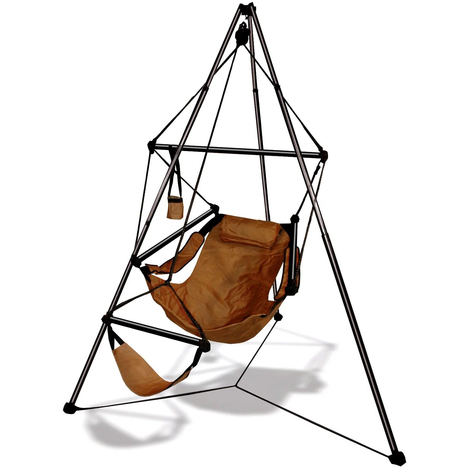 hanging chair holder light blue banquet covers hammaka tripod aluminum stand walmart com