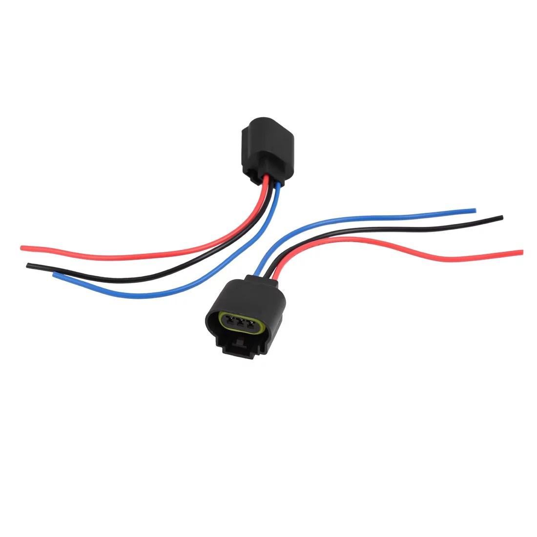 hight resolution of 2pcs 12v 3 9w h13 9008 3 wire harness headlight fog light bulb sockets for car