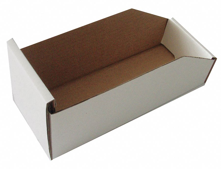 Corrugated Shelf Bin 100 Lb Test Rating White 4 3 4quoth