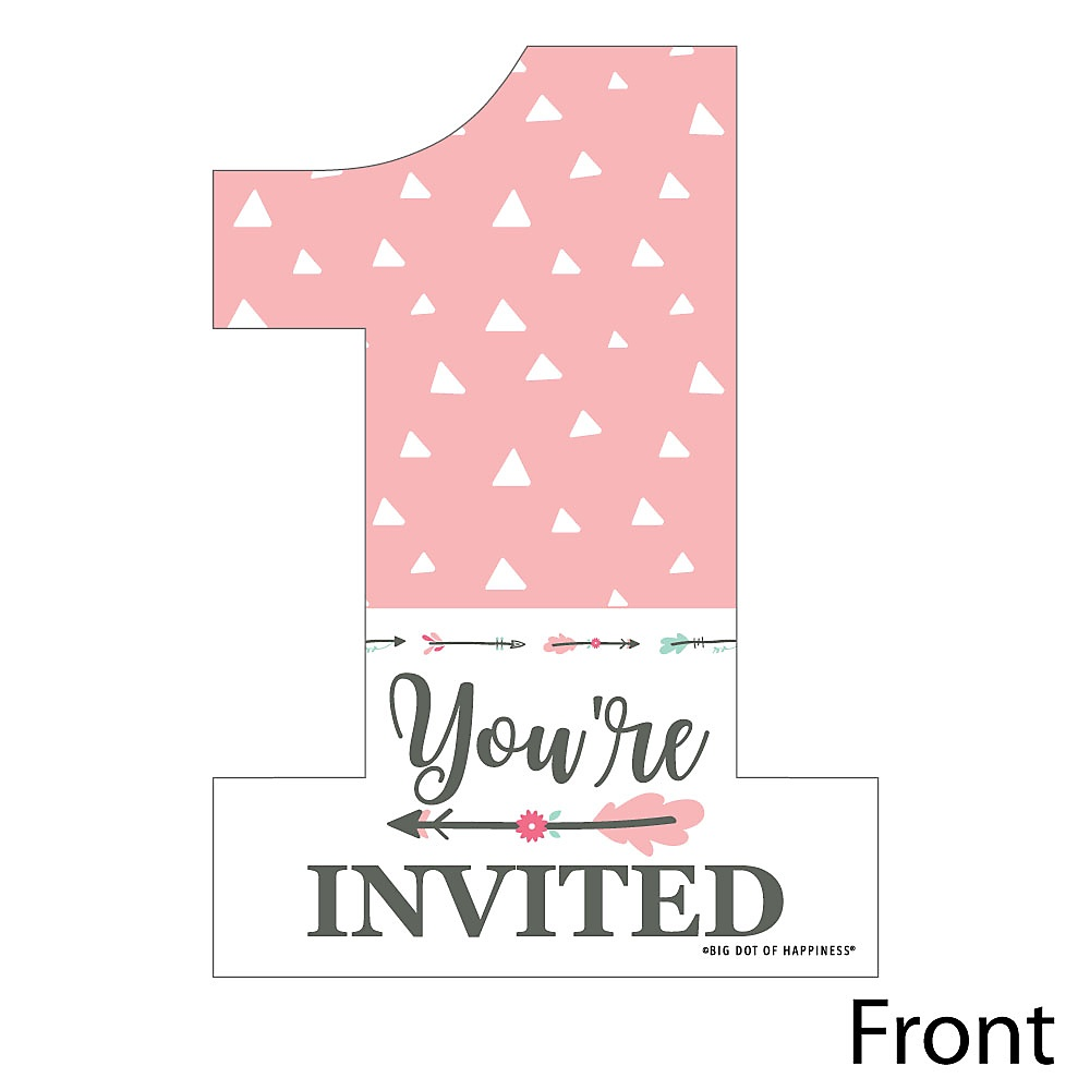 she s a wild one shaped fill in invitations boho floral 1st birthday party invitation cards with envelopes set of 12