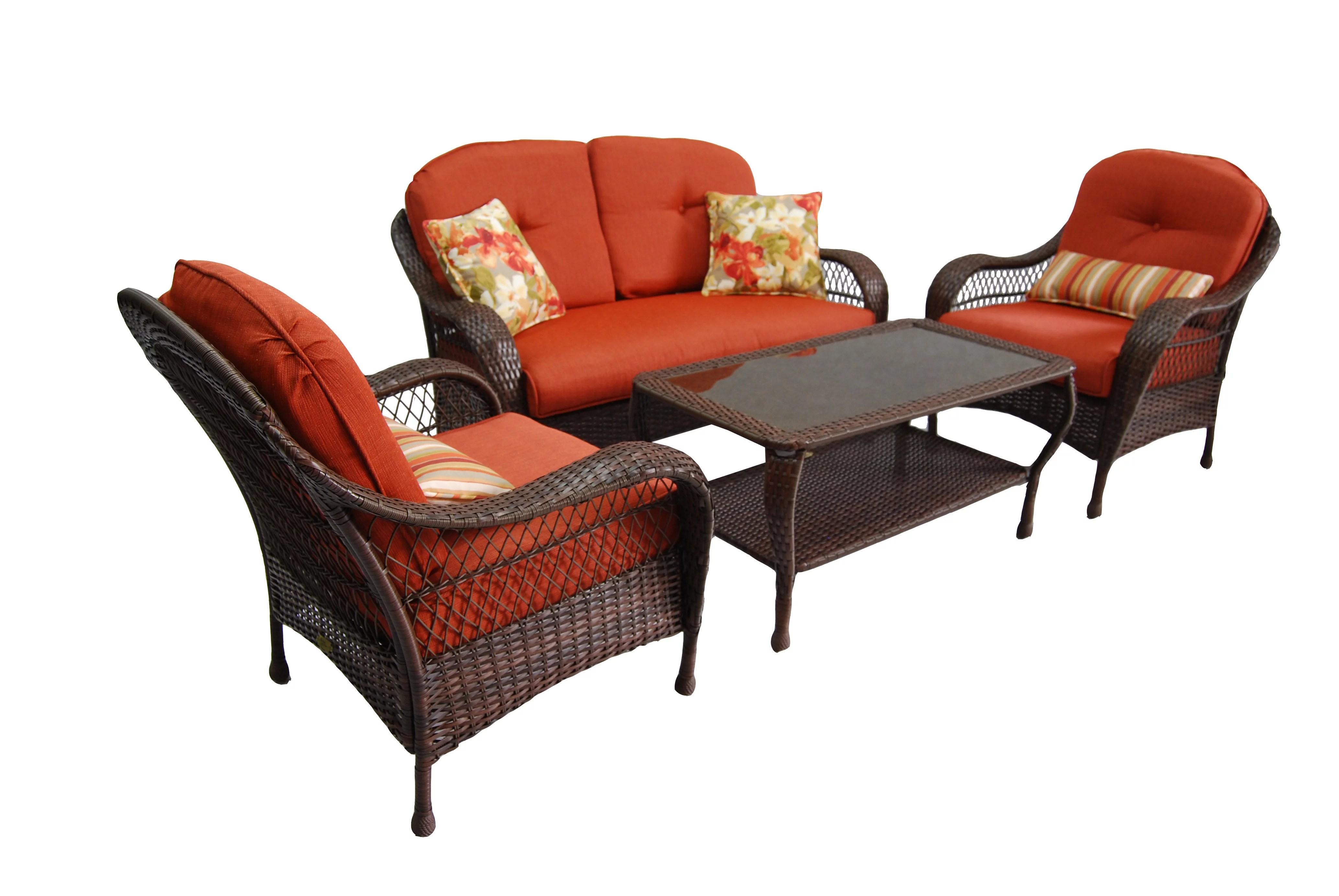 better homes gardens azalea ridge outdoor conversation set with orange cushions