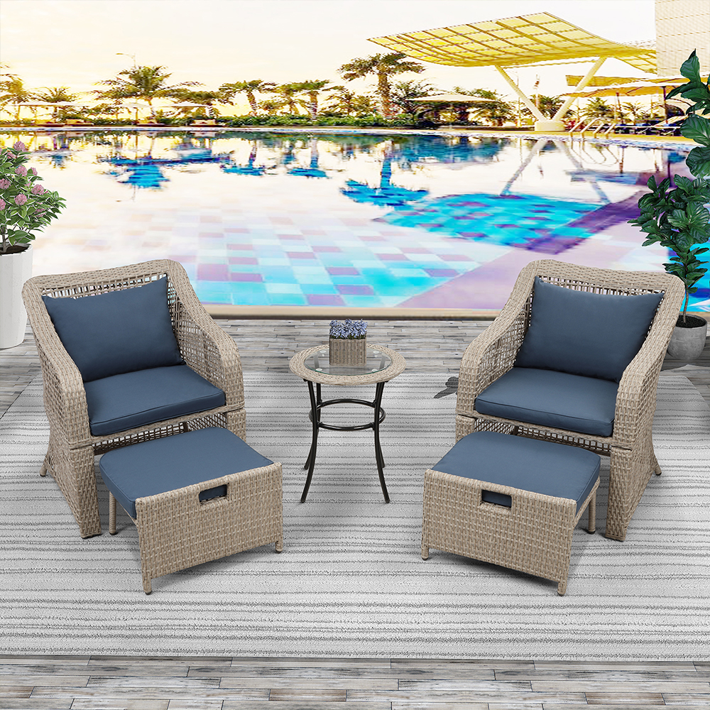 5 piece patio furniture set outdoor bistro set chairs and table patio set rattan wicker patio conversation set all weather heavy duty patio