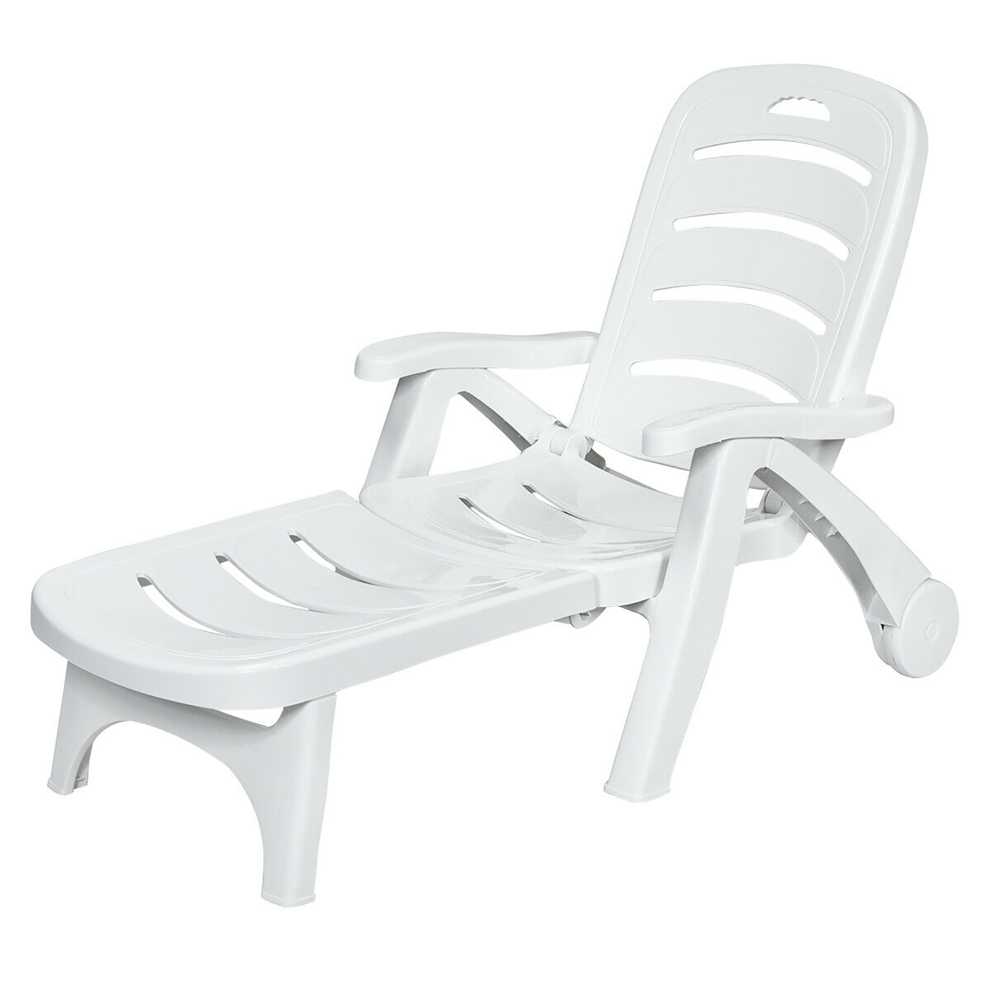 costway adjustable folding patio chaise deck chair lounger 5 position recliner w wheels