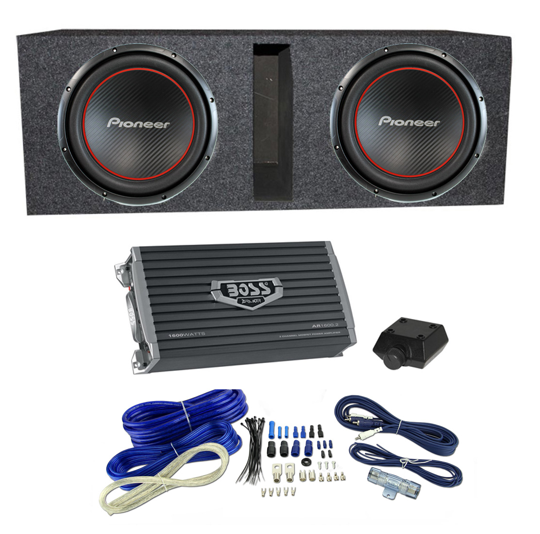 hight resolution of pioneer ts w304r bass package 2 12 subwoofers box 2 channel amp wiring walmart com