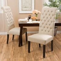 Estbury Tall Dark Beige Tufted Dining Chair - Set of 2 ...