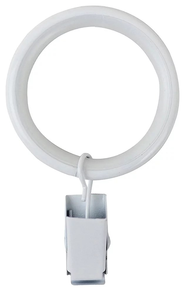 curtain rings with clips 1 5 glossy white set of 16