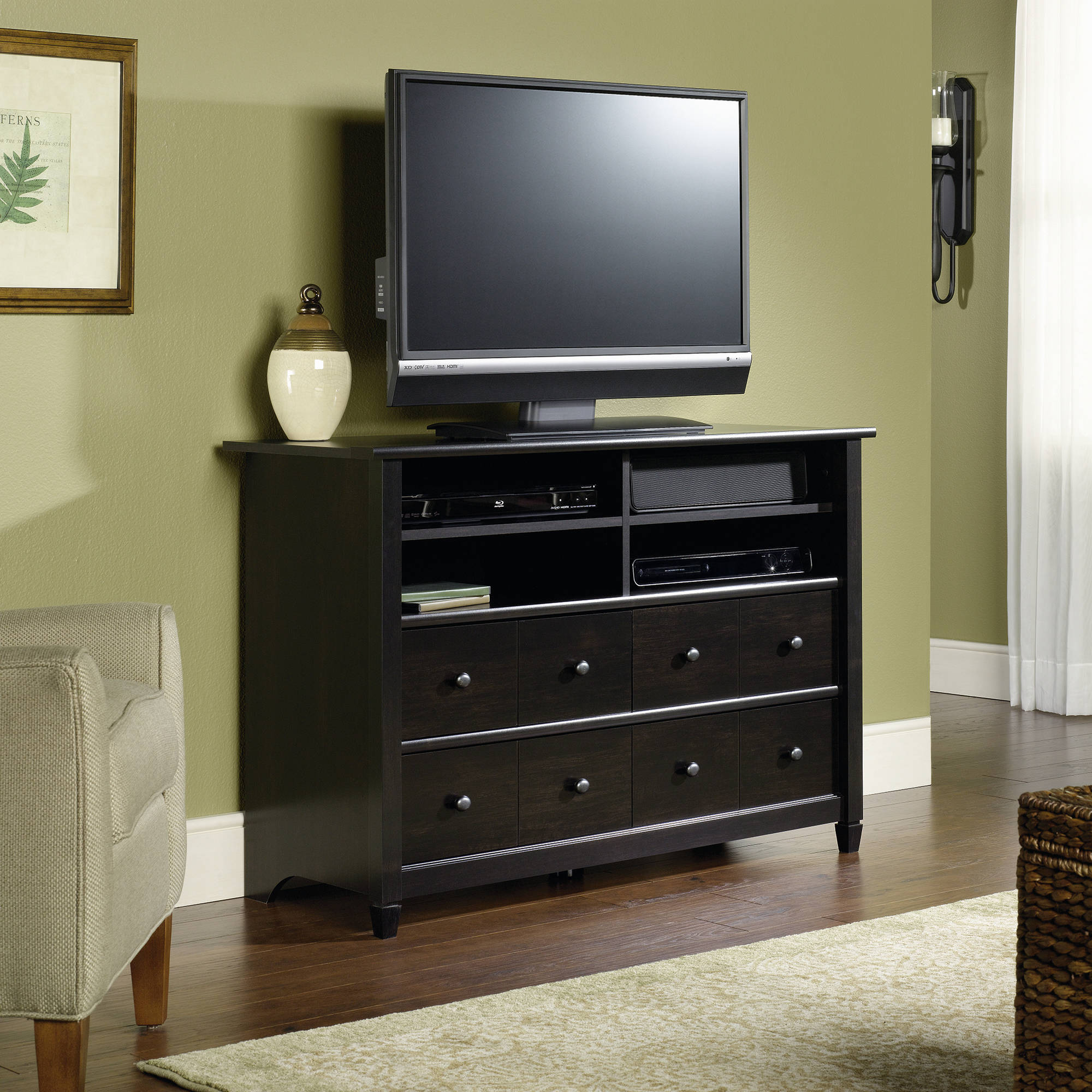 """sauder edge water tall tv stand for tvs up to 45"""", estate black"""