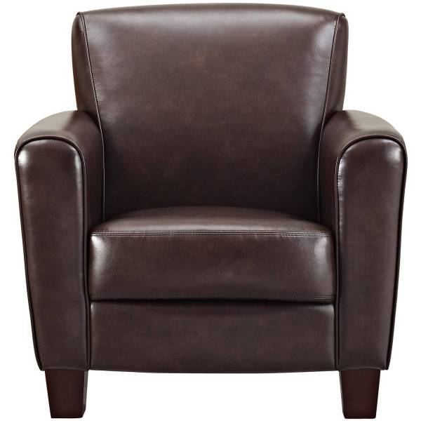 Club Chair Brown Leather Casual Contemporary Wide Arm Livingroom Accent