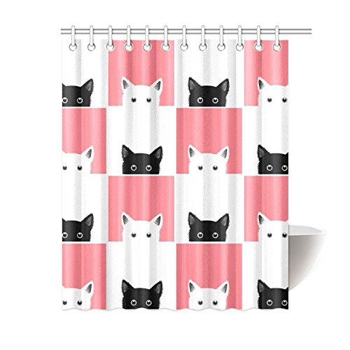 mkhert black white pink cat shower curtain bath curtain waterproof fabric polyester curtains 60x72 inch