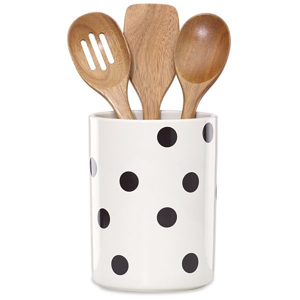 kate spade kitchen unfinished chairs new york deco dot 8 inch utensil crock with 3 acacia utensils