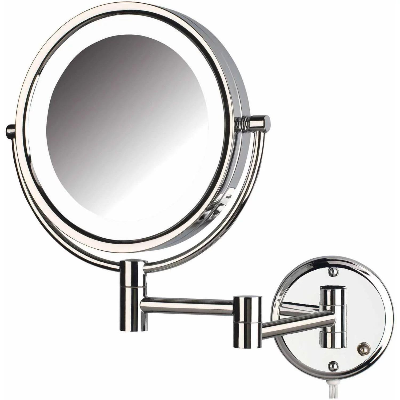 Jerdon Hl88cl 8 5 Led Lighted Wall Mount Makeup Mirror With 8x Magnification Chrome Finish Walmart Com Walmart Com