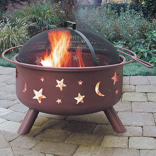 Landmann Big Sky Steel Fire Pit Stars  Moons Georgia Clay  Walmartcom