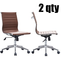 Brown Office Chair Without Arms Covers To Buy 2xhome Set Of 2 Ribbed Modern Ergonomic Mid Back Armless No Pu Leather Eames Chairs Task Swivel Tilt Conference Room