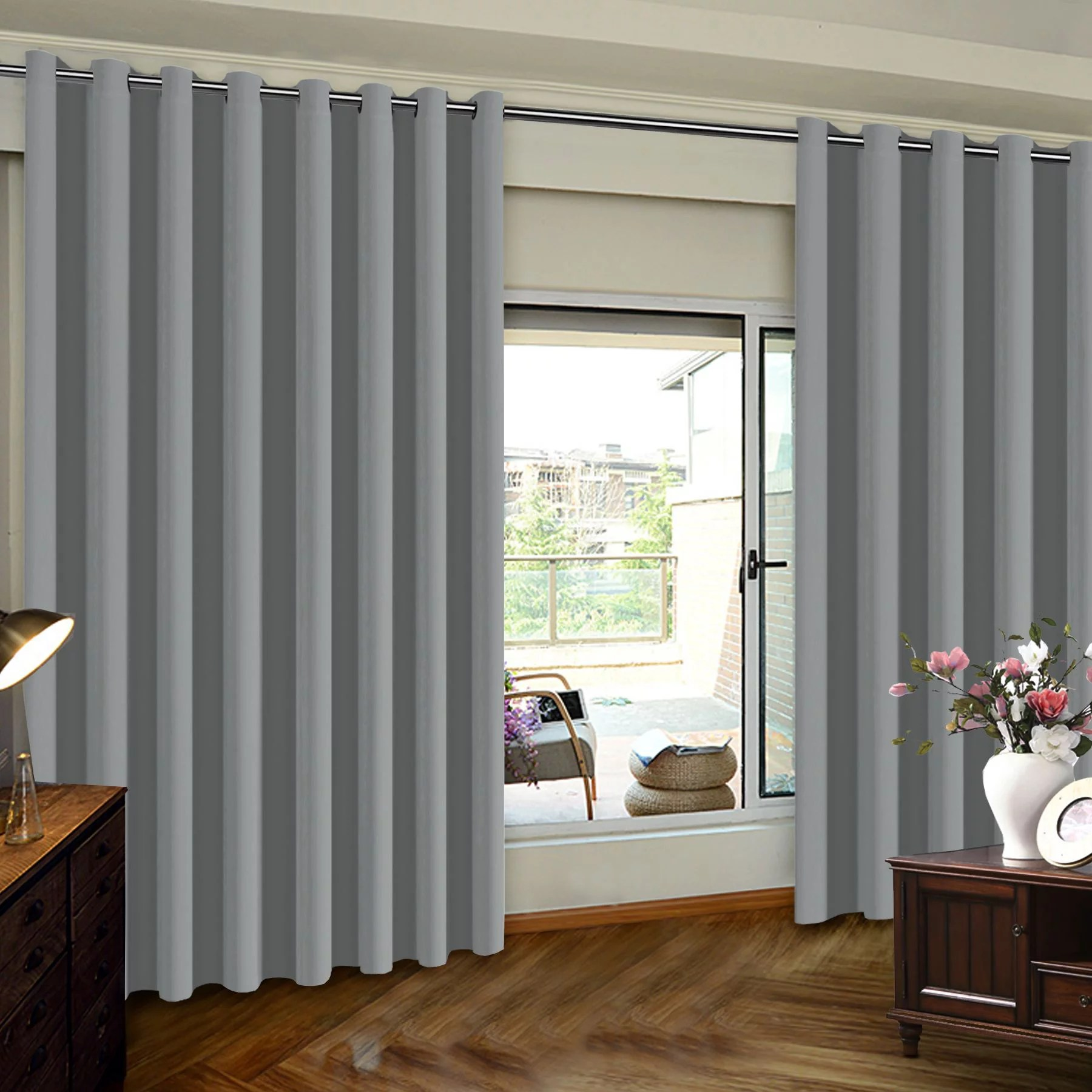 blackout wide sliding door curtains privacy room divider curtain thermal insulated wide drapes draperies for bedroom with grommet top dove gray