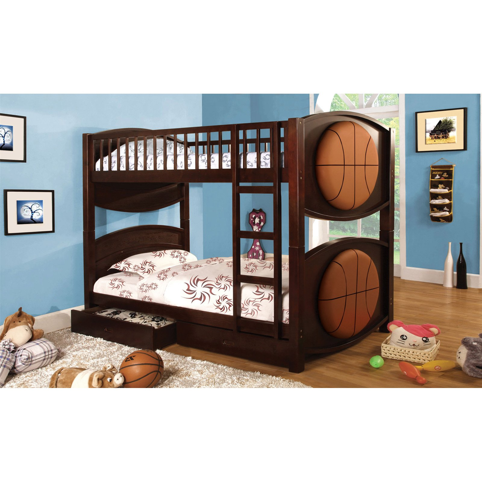 Furniture Of America Basketball Twin Over Twin Bunk Bed With Storage Drawers Walmart Com Walmart Com