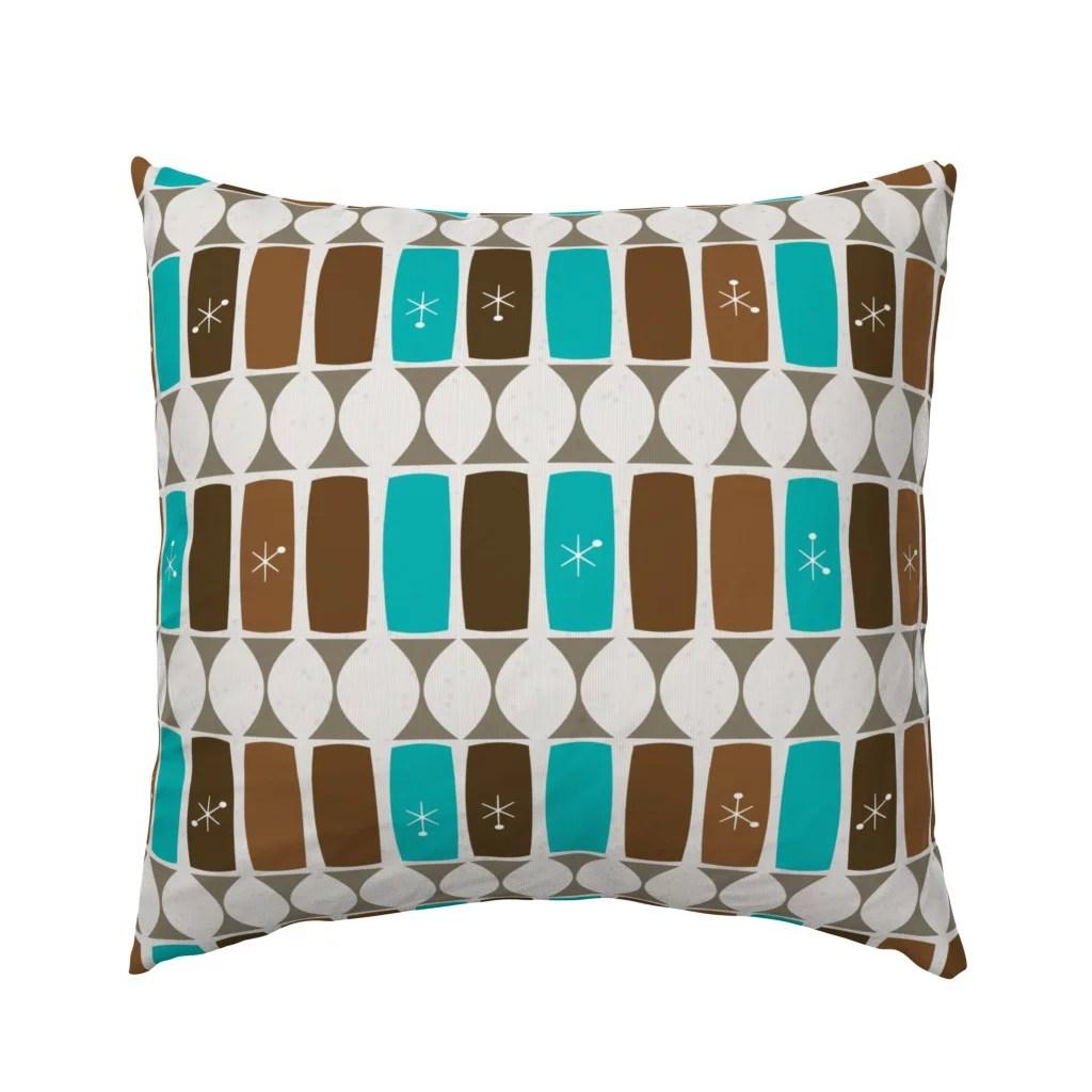 Mid Century Mod Geometric Blue Brown Midcentury Modern Pillow Sham By Roostery Walmart Com