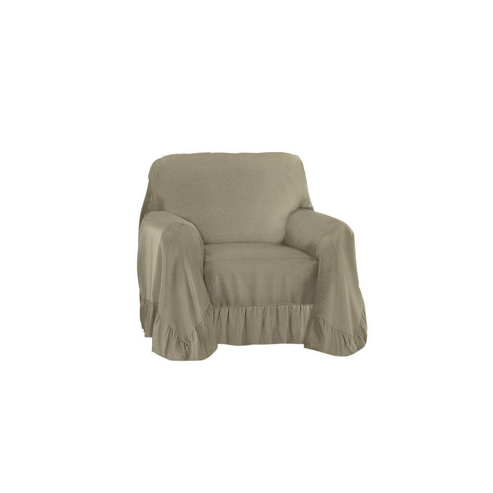 Chair Throw Covers Ruffled Throw Furniture Protector Cover Easy Fit Tuck In Place Chair Sage