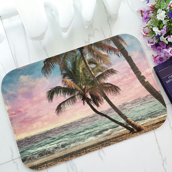 Phfzk Seascape Doormat Tropical Beach Palm Tree Artwork