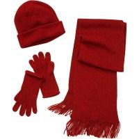 Women's 3-Piece Hat, Gloves and Scarf Lurex Knit Set ...