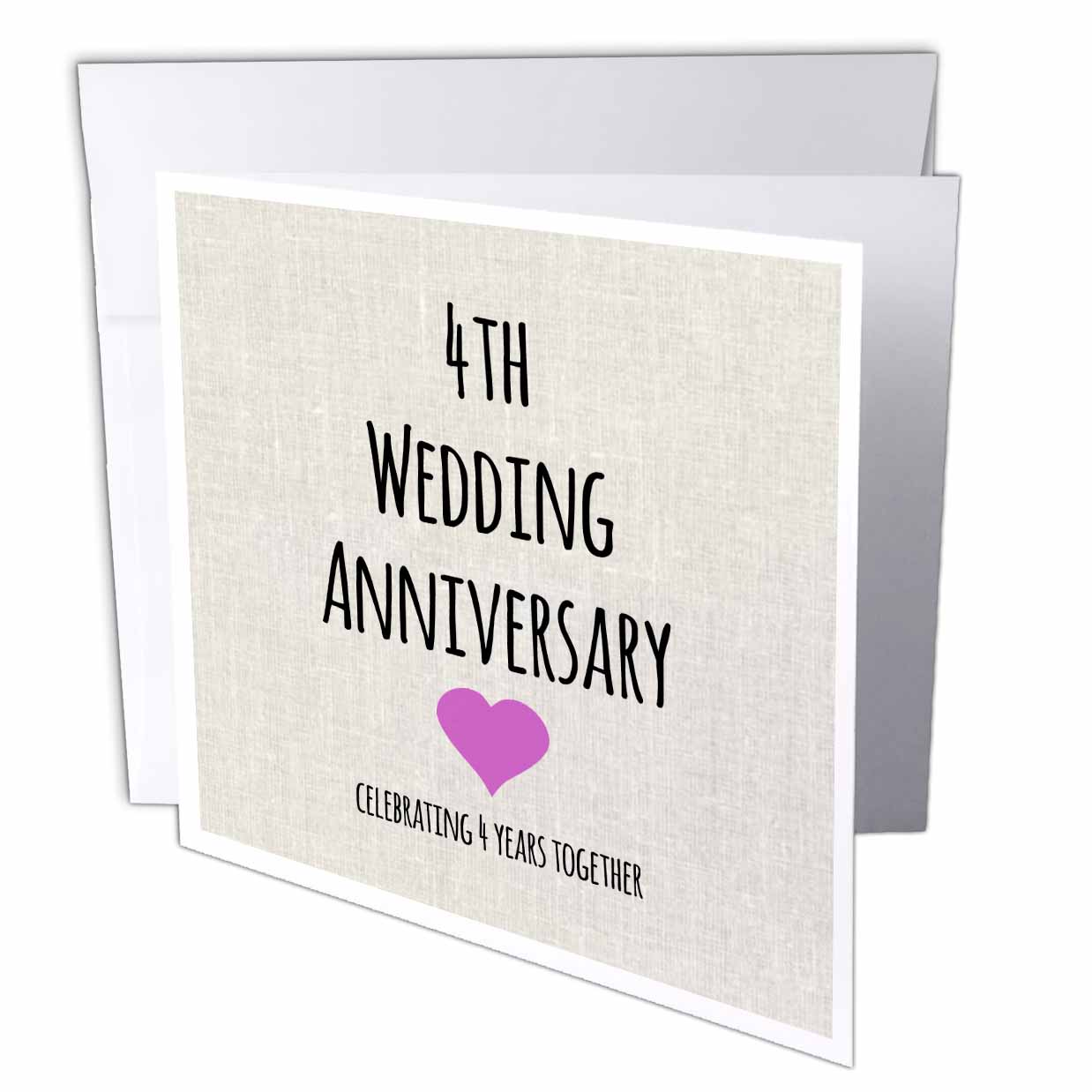 3dRose 4th Wedding Anniversary gift  Linen celebrating 4 years together fourth anniversaries