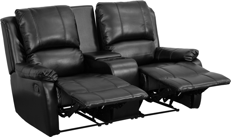 allure series 2 seat reclining pillow back black leathersoft theater seating unit with cup holders