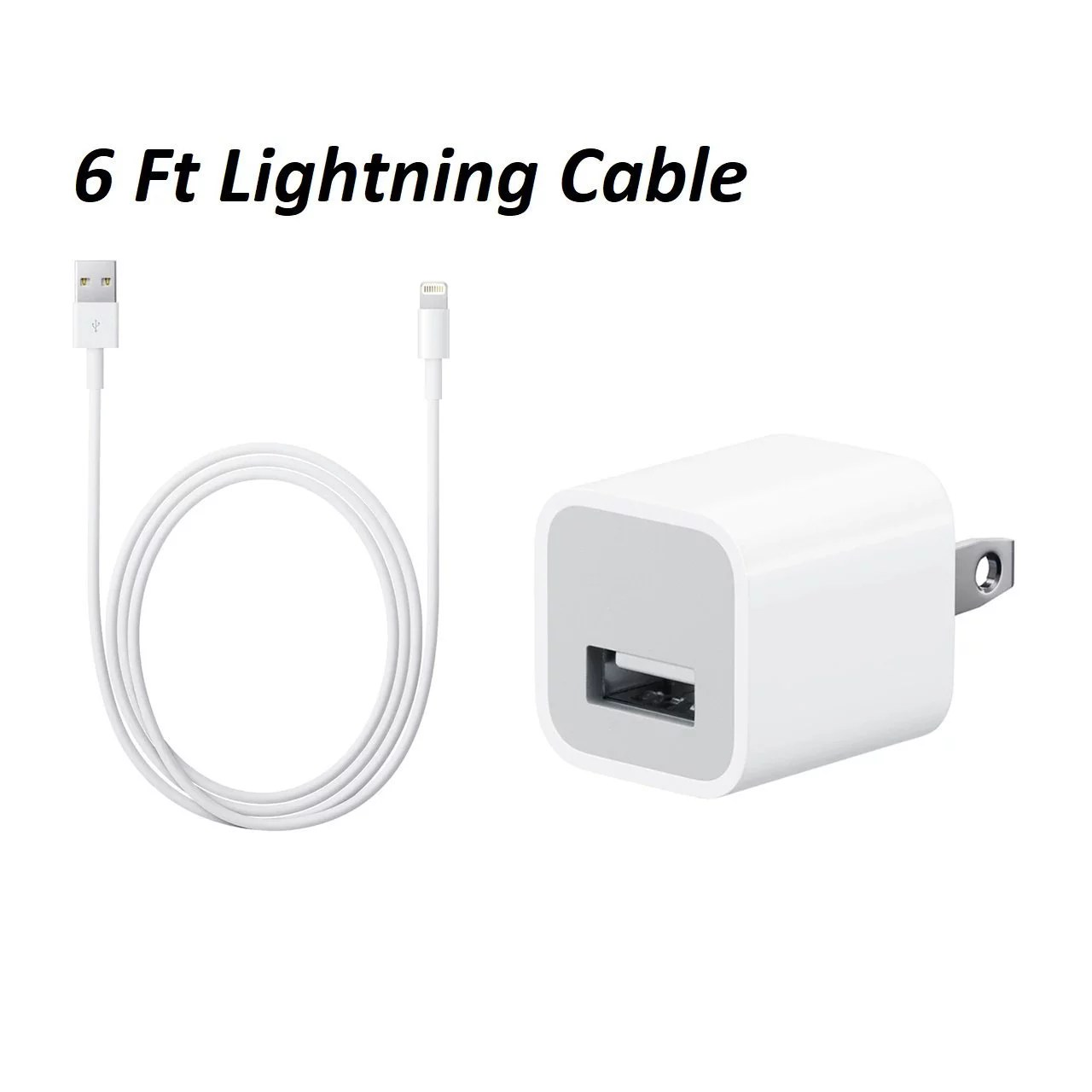 apple iphone charger 5w cube usb adapter 6 foot 2 meter lightning usb cable for ipod ipad iphone 5 5c 5s se 6 6s 7 plus 8 8 plus x walmart com