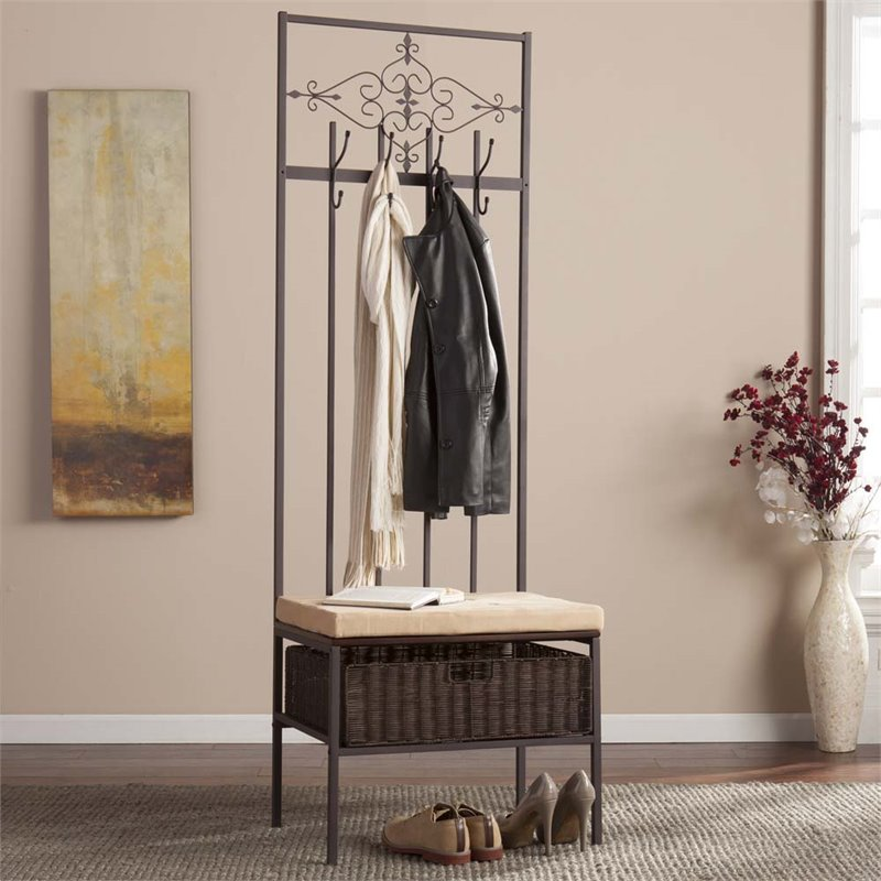 Southern Enterprises Scroll Hall Tree Bench In Espresso