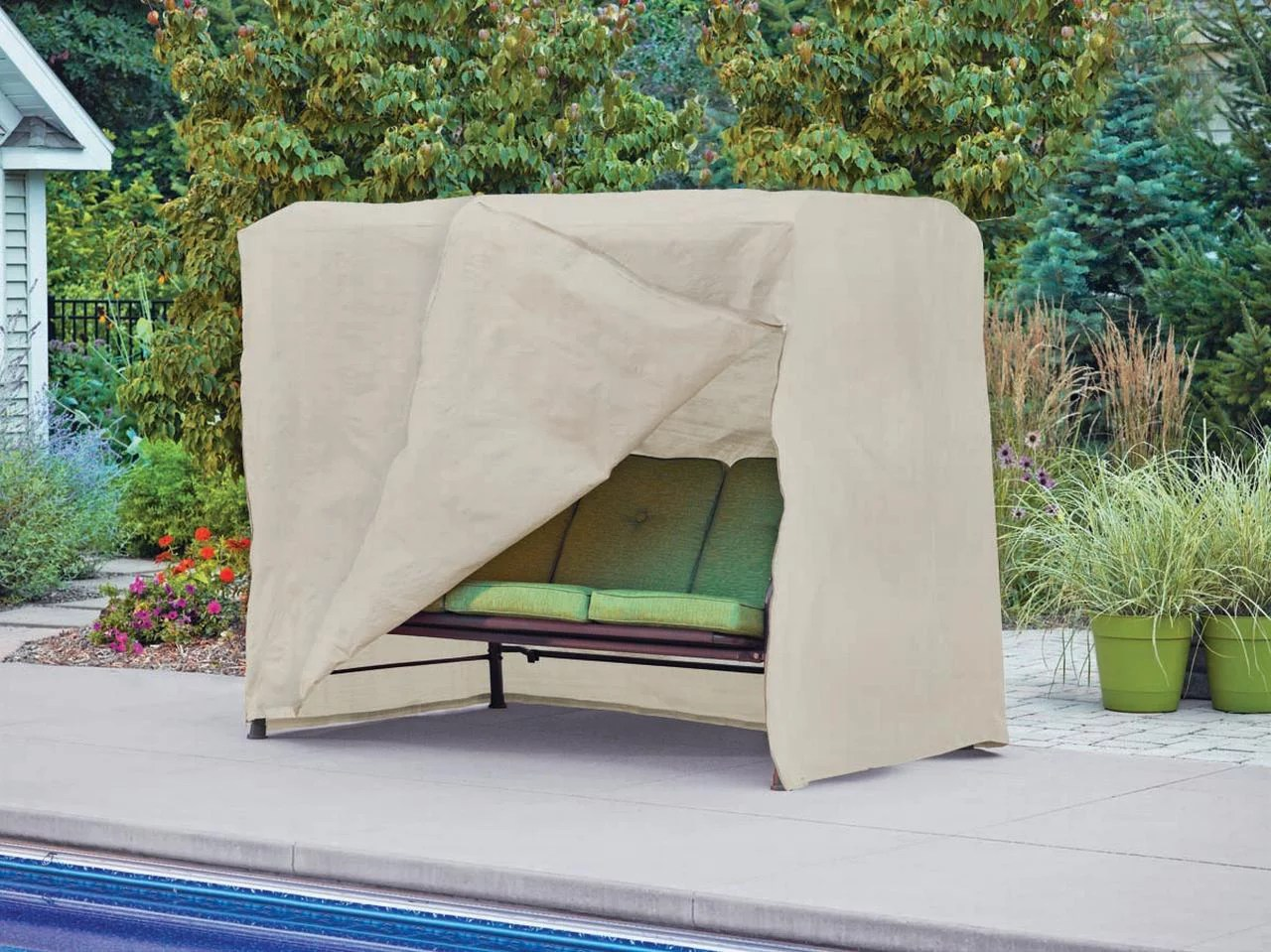 Modern Leisure 5429A Basics Outdoor Patio Swing Cover – Water Resistant (87 W X 64 D X 66 H Inches), Beige