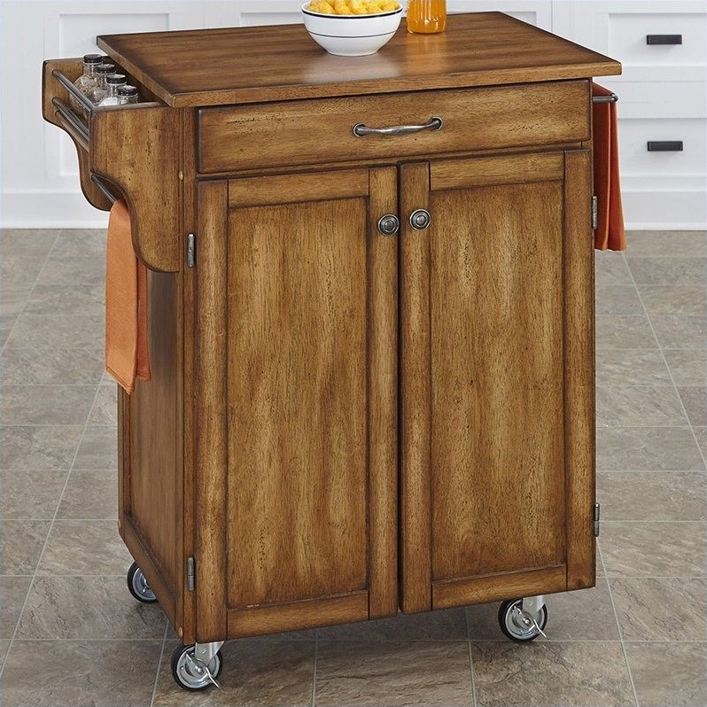 home styles kitchen cart cheap faucet cuisine with oak top in warm
