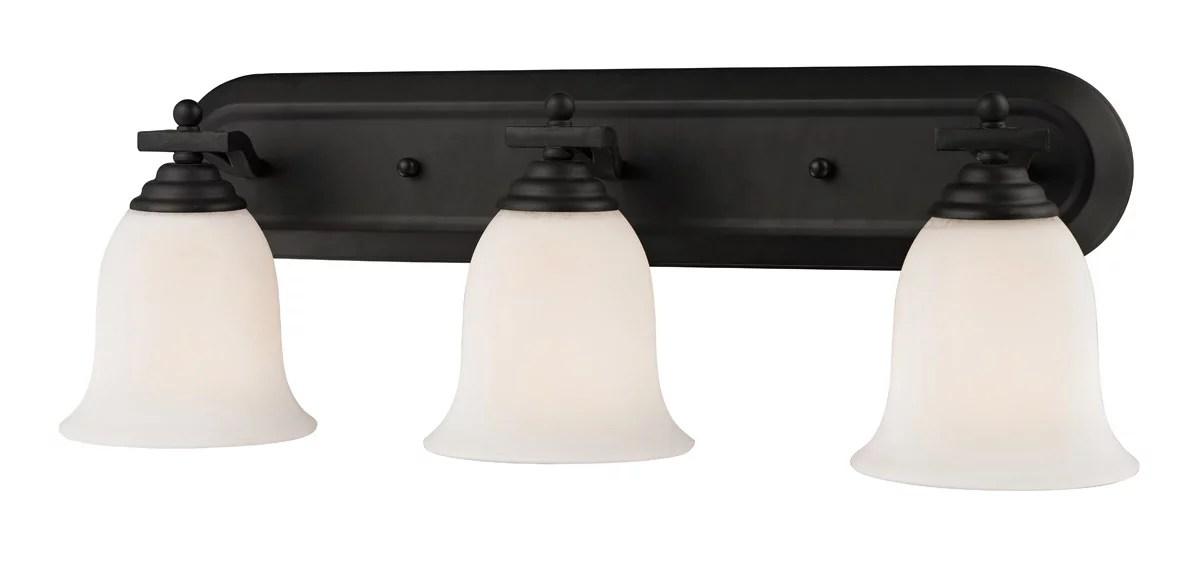 Bathroom Vanity 3 Light With Matte Black Finish Steel