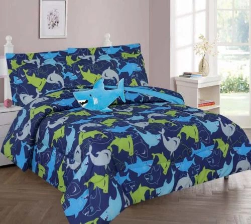 twin shark blue boys bedding set beautiful microfiber comforter with furry friend and sheet set 6 piece kids bed in a bag