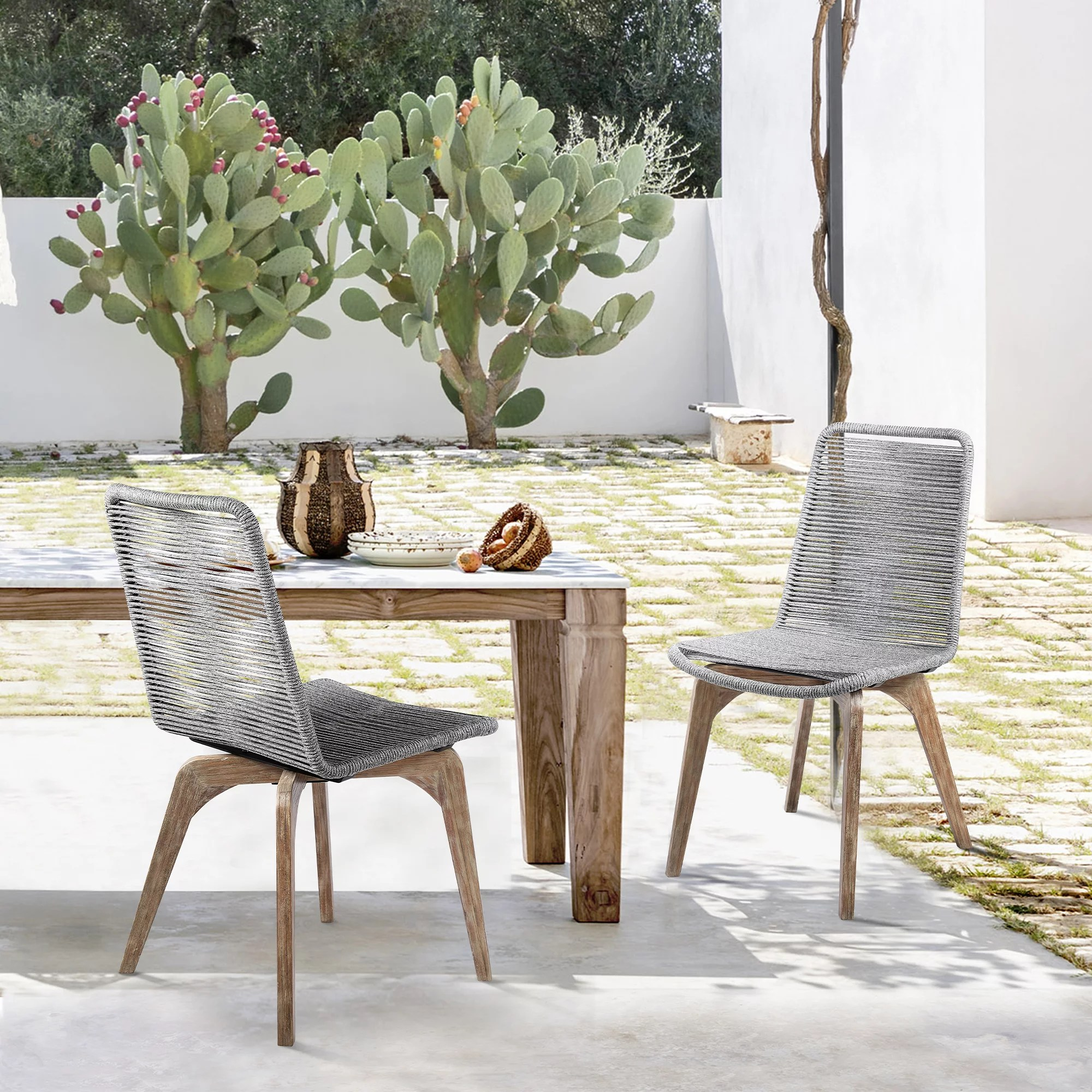 island outdoor patio gray rope dining chair in teak finish set of 2 walmart com