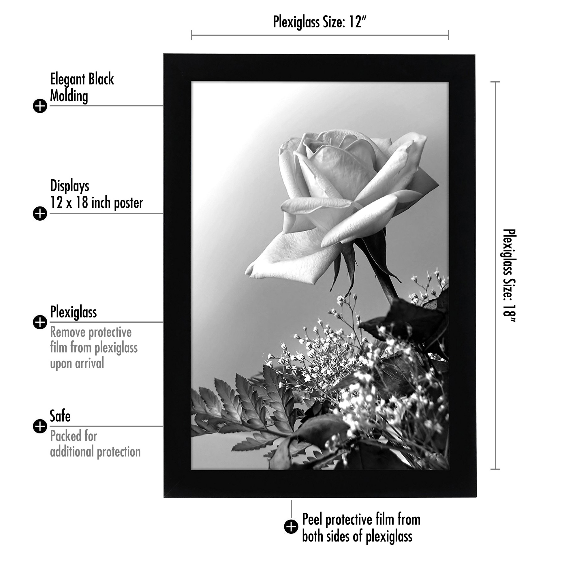 americanflat 12x18 inch black poster frame plexi front