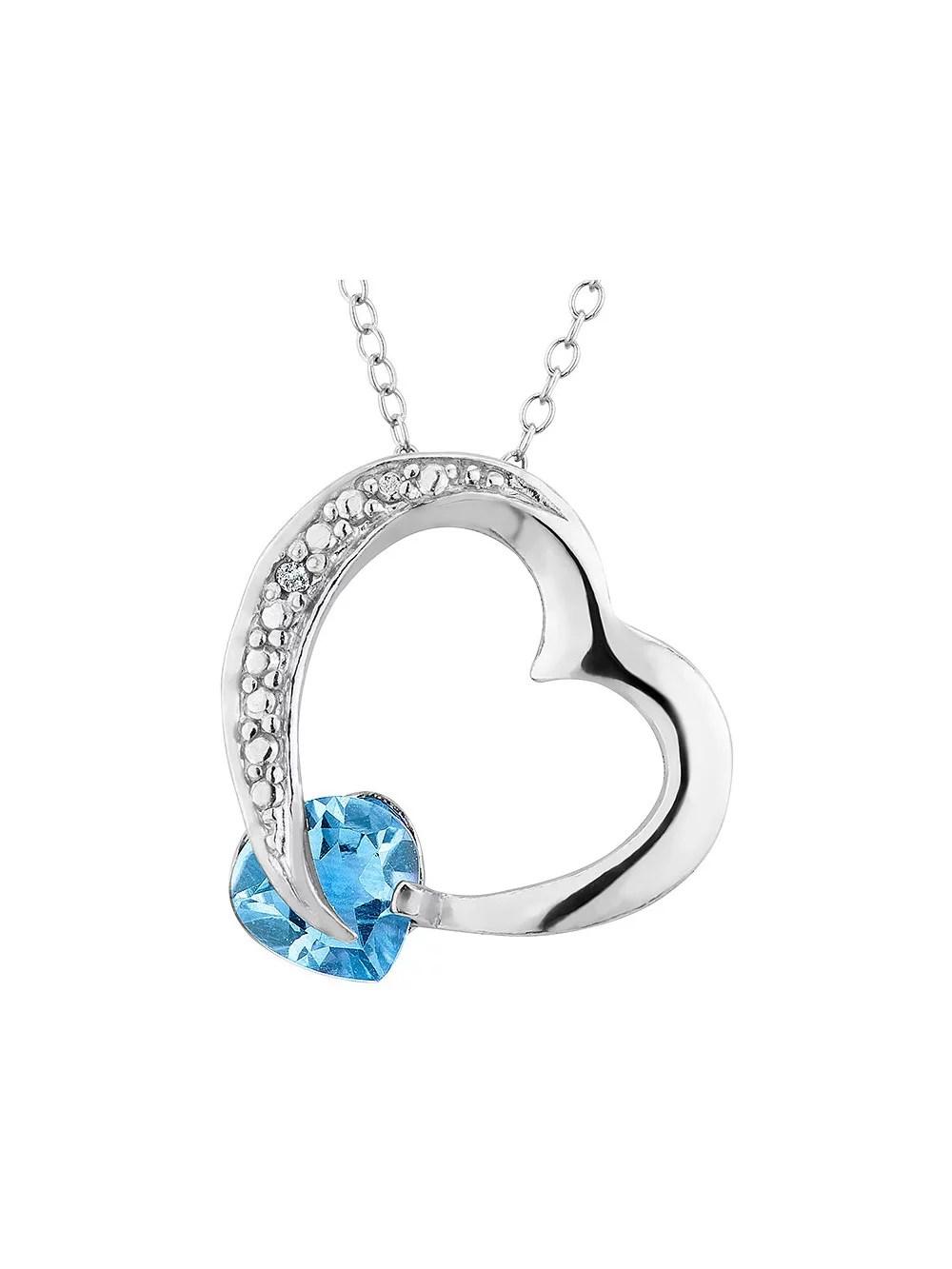 Blue Topaz Heart 1.00 Carat (ctw) Pendant Diamond Accent