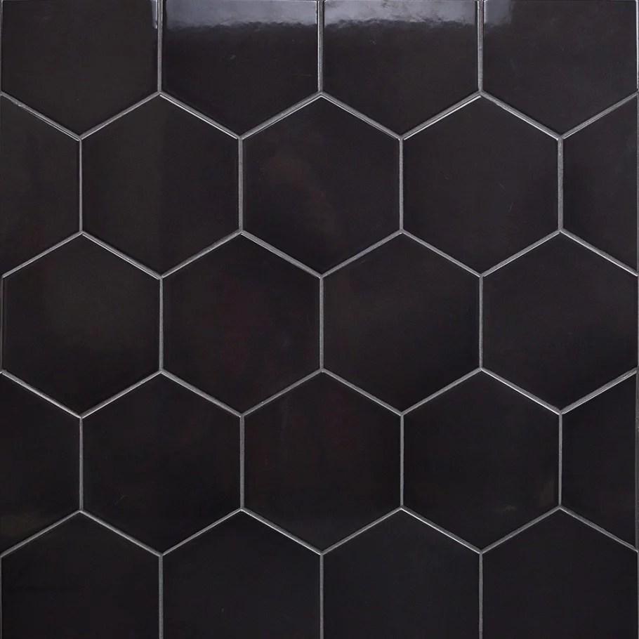magen hex dark gray polished ceramic hexagon tile
