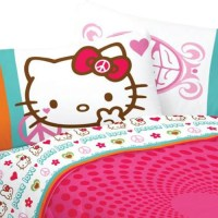Hello Kitty Bed Sheet Set Sanrio Peace and Love Bedding ...