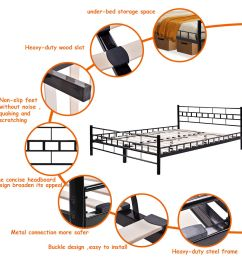 costway queen size wood slats bed frame platform headboard footboard furniture black walmart com [ 1200 x 1200 Pixel ]