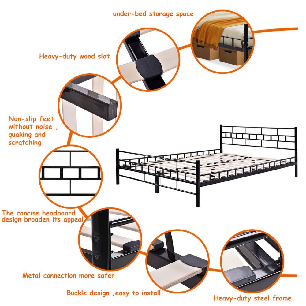 medium resolution of costway queen size wood slats bed frame platform headboard footboard furniture black walmart com